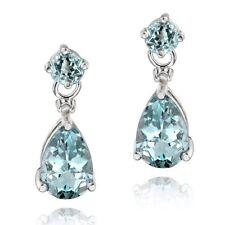 .925 Sterling Silver 3.6ct Blue Topaz Teardrop Earrings