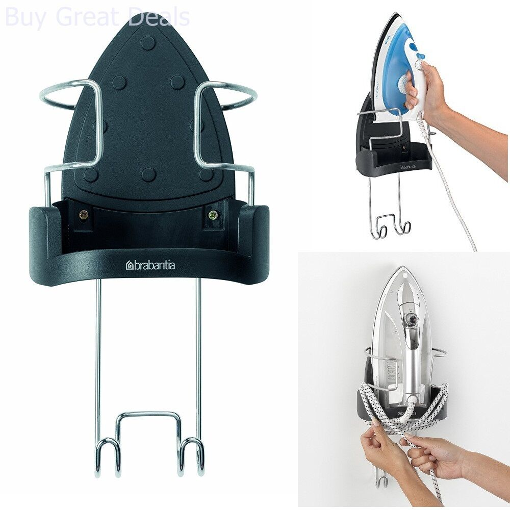 Details About Wall Mount Iron Rest Hook Hanging Ironing Board Holder Safety Flex Cord Storage
