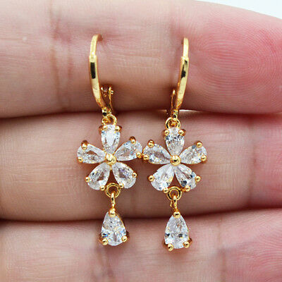 - 18K Yellow Gold Filled Elegant Flower White Topaz Zircon Drop Earrings Wedding