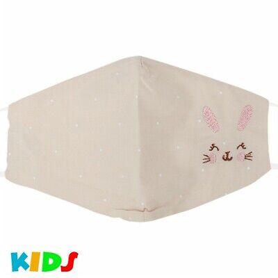 Stoffmaske Kindermaske Mundschutz Maske Hase Pastell Ocker Junge Mädchen Punkte