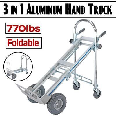 3 In 1 Folding Hand Truck Stair Climber Hand Truck Aluminum Cart Dolly 770lbs