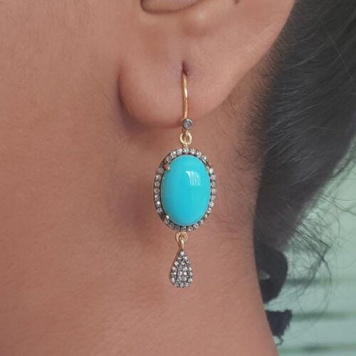 14K Gold Diamond Pave Turquoise Gemstone 925 Silver Handmade Earrings Jewelry