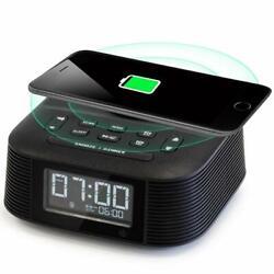 Wireless Charging Alarm Clock Radio with Dual Alarm, Bluetooth Speaker