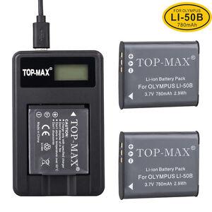 2X Battery +USB Charger For LI-50B Olympus u9010 u1030 u TOUGH 8010 8000