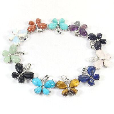 natural gemstone beads butterfly charms pendant quartz amethyst jasper opal