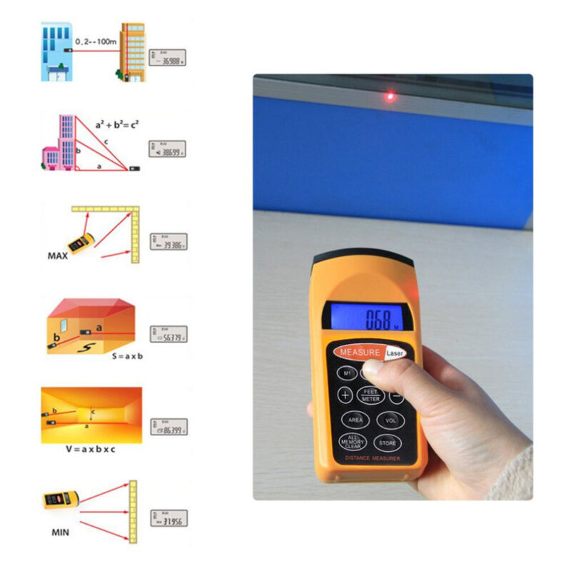 Electronic Ultrasonic Laser Measure Distance Meter Measuring 1.5 Feet to 60 Feet