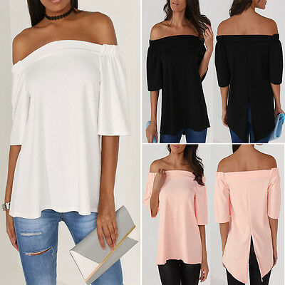 Us Womens Off The Shoulder Casual Loose Short Sleeve Blouse T Shirt Tops Summer
