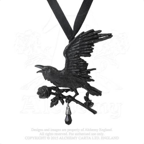 Alchemy Gothic Harbinger & Black Rose English Pewter Pendant