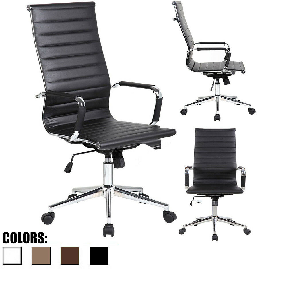 Office Chair PU Leather With Arms Wheels Swivel Tilt Adjusta