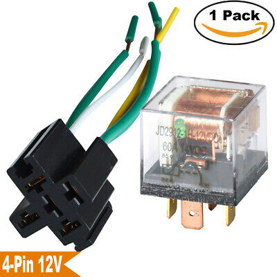 Auto Relay 12V 60A 60 AMP Wired Socket 4-PIN SPST Relays Waterproof Switcher USA