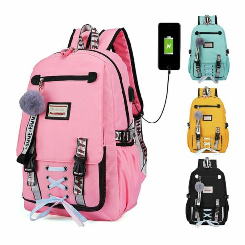 Women Girls School Bag Waterproof Teenage Backpack USB Port