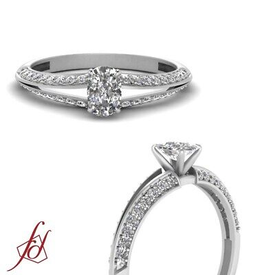 Cushion Cut Diamond Knife Edge Pave Engagement Ring With Round Accents 0.85 Ctw