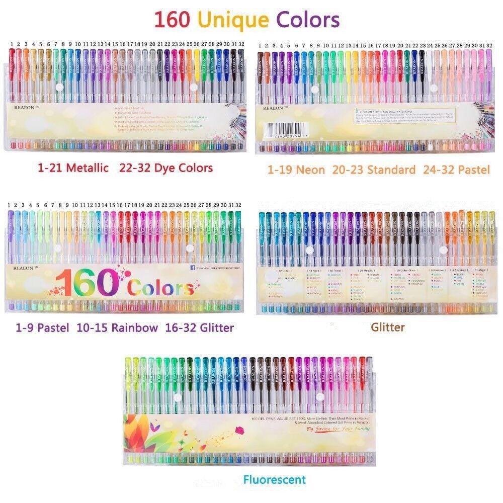 Gel Colors Pens 160 Set Glitter Metallic Neon Colors for Adu
