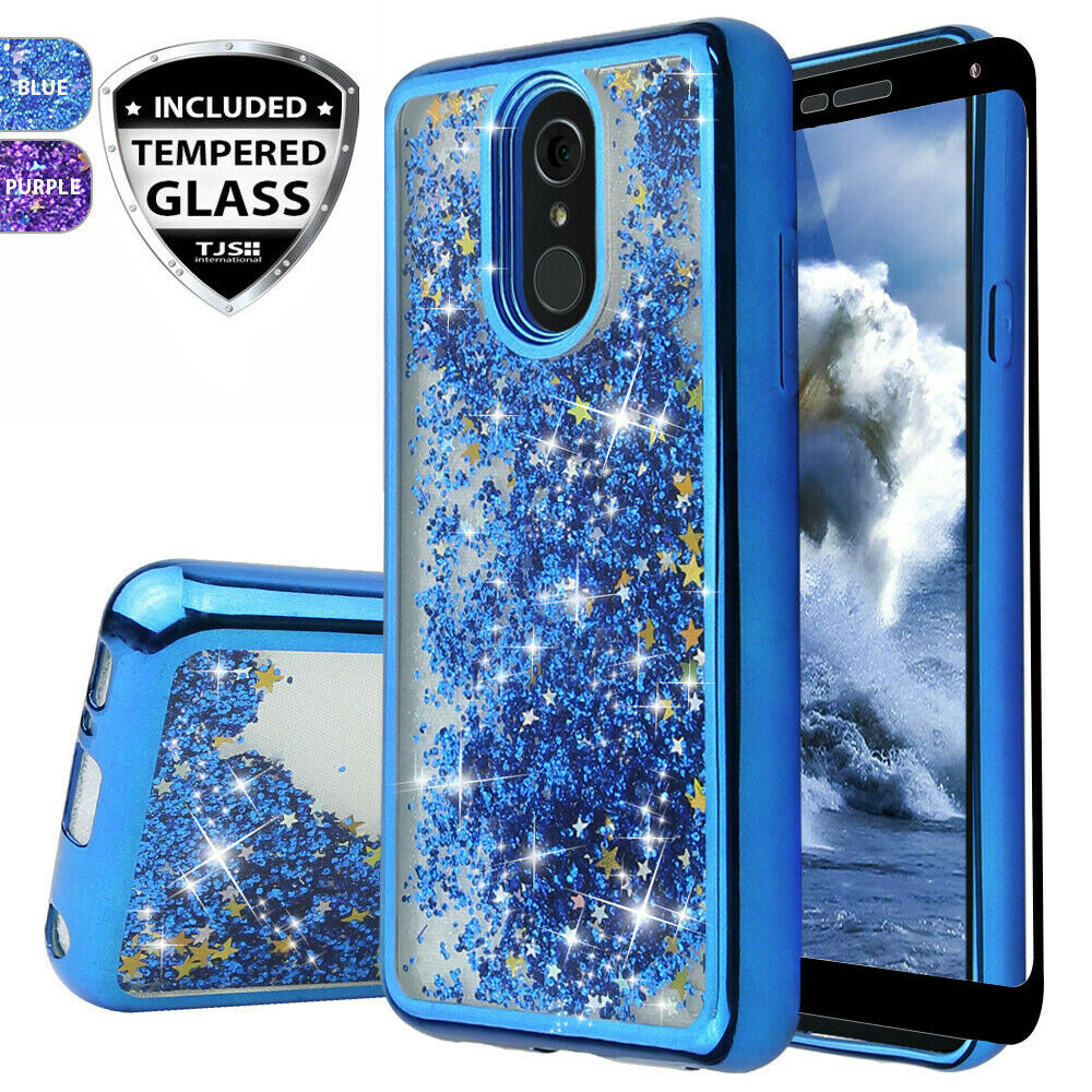 For LG Stylo 4 / 4 Plus Case Cover, Chrome Glitter Liquid Bling +Tempered Glass