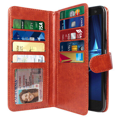 For Motorola Droid Turbo 2 Kinzie XT1585 Wallet Dark Brown Cover Case Pouch