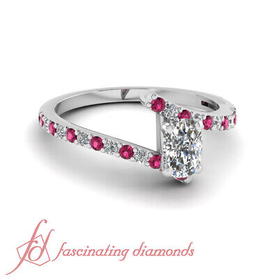 Platinum Engagement Rings For Her 3/4 Ct Cushion Cut Diamond & Pink Sapphire GIA