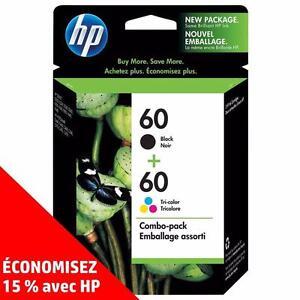 Cartouches d'encre noire et de couleur d'origine HP 60 – Achetez directement de HP et économisez! (15%)