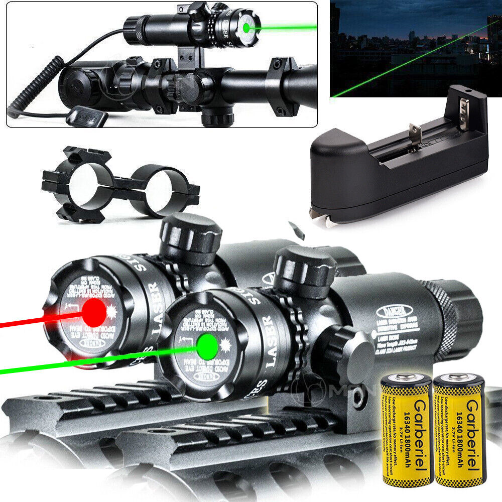 Switch Rail Tactical Green Red Laser Sight Rifle Dot Scopes Barrel Mounts