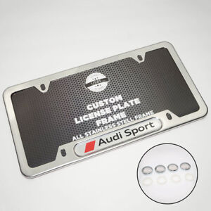 Chrome Stainless Steel Front Rear For Audi Sport License Plate Frame Cover Gift