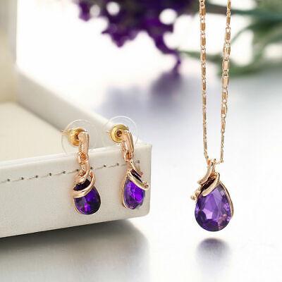 Frauen Schmuckset Kristall Strass Halskette Ohrringe Anhänger Tropfen Lila (Kristall Schmuck Lila)