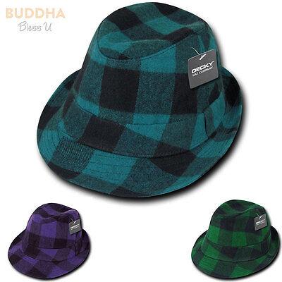 Decky Acrylic Plaid Lightweight Fedora Fedoras Trilby Panama Hats