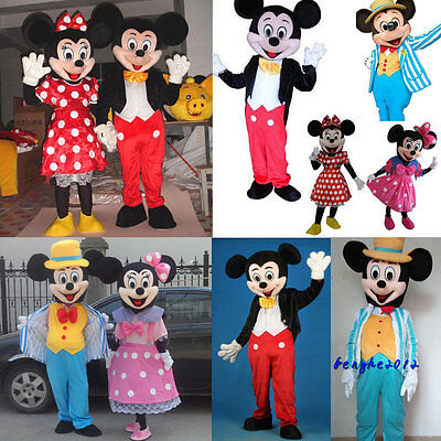 Mickey And Minnie Mouse Adult Costumes (Mickey and Minnie Mouse couple Mascot Costume Halloween Party Adult Fancy)