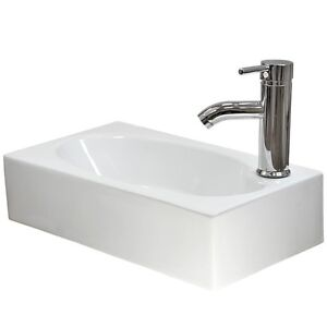 Small Rectangular Sink : Small-Bathroom-Sink-Rectangle-Wall-Mount-Cloakroom-Hand-Basin-White ...