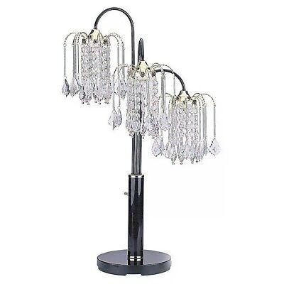 Crystal Like - Hongville Elegance 3-Arms Chandelier Crystal-Like Shades Table Lamp