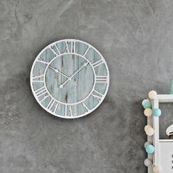 Coastal Wall Clock Round Blue Quartz Distressed Wood Oversized Beach Home Decor