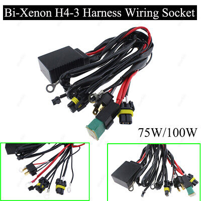 75W/100W HID Bi-Xenon H4-3 Bulbs High/Low Controller Fuse Relay Wiring Harness for sale  Shipping to Canada