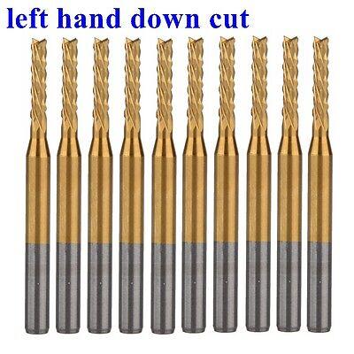 10pcs Titanium 3.175x2.0mm Left Hand Down Cut Corn Teeth Bit Pcb End Mill Cutter