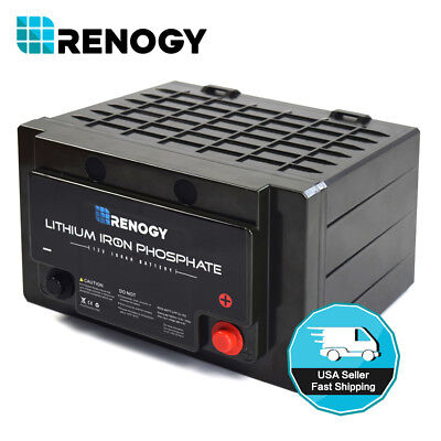 Open Box Renogy Lithium Iron Phosphate Battery 12V 100Ah Rechargeable BMS LFP - Lithium Battery Box