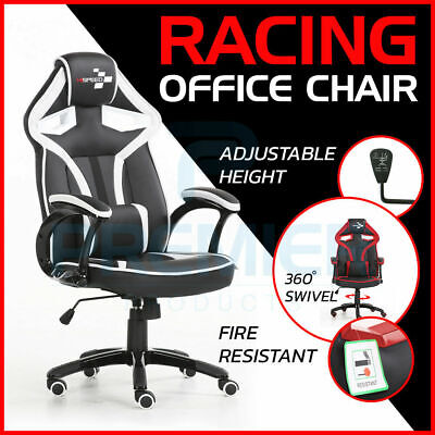 SWIVEL PU LEATHER OFFICE RACING GAMING CHAIR ADJUSTABLE ERGONOMIC DESK COMPUTER