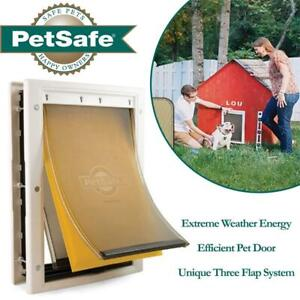 NEW PetSafe Extreme Weather Energy Efficient Pet Door, Unique Three Flap System, White, for Large Dogs Up to 45 kg Co...