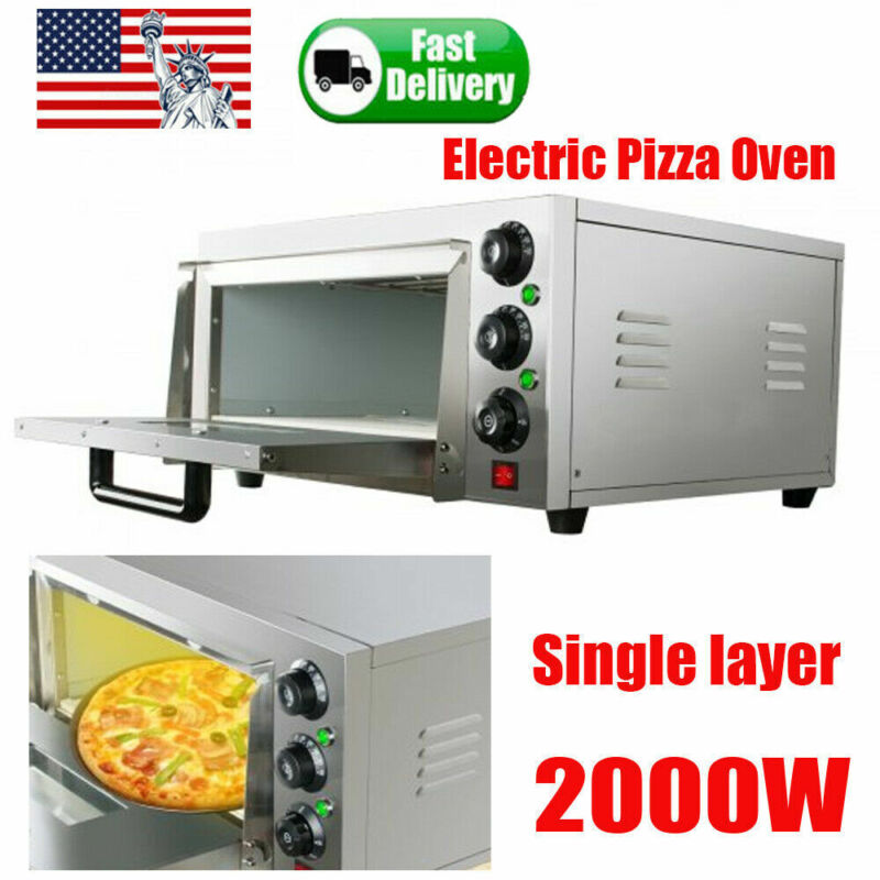 Commercial Single Pizza Oven Electric Countertop Cake Baking Machine 2000W Steel