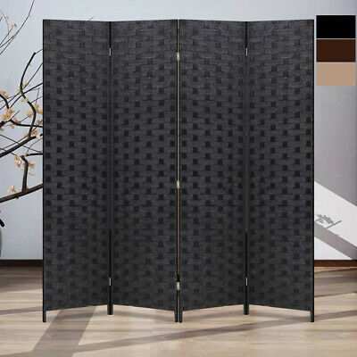 Folding Privacy Room Divider 4 Panels Wood Woven Screen Oriental Frame Partial