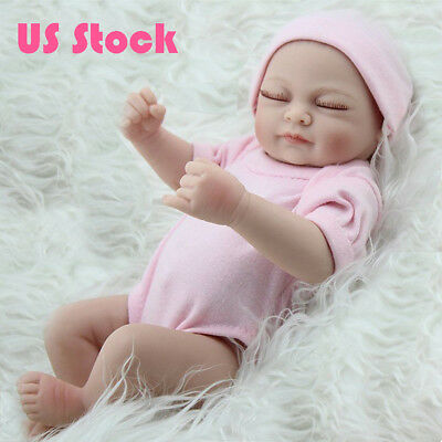 "10"" Lifelike Girl Full Vinyl Reborn Baby Dolls Handmade Newborn Birthday Gifts"