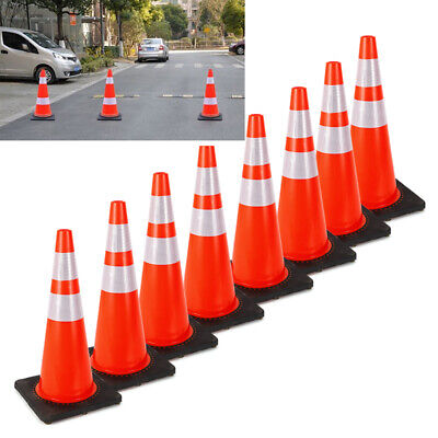 Road Traffic Cones Fluorescent Orange Reflective Road Safety Parking Cones 8x28