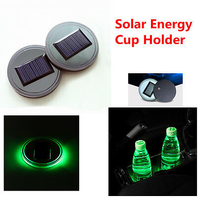 Green Light Solar Energy Cup Holder Bottom Pad Led Light Cover Trim For All Car