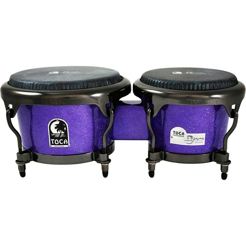 Toca Jimmie Morales Signature Series Purple Sparkle Bongos 7 and 8.5 inch LN