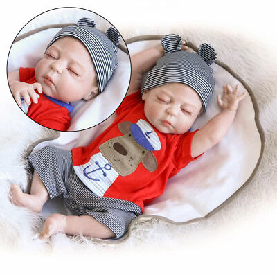 "23"" Full Silicone Reborn Handmade Baby Sleeping Doll Soft Vinyl Newborn Boy"