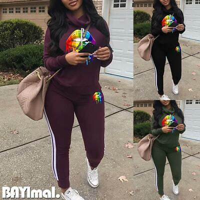 2Pcs Womens Casual Hooded Tops Pants Set Ladies Sports Gym Tracksuit Lounge Wear