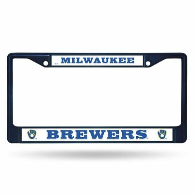 Milwaukee Brewers MLB Navy Painted Chrome Metal License Plate Frame