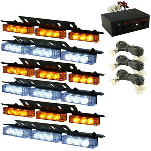 HQRP 54-LED White Amber Emergency Warning Strobe Lights 6 Bars Deck Dash Grille