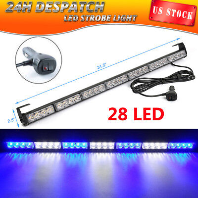 28LED Emergency Warn Strobe Light Bar Hazard Dash Traffic Advisor BLUE WHITE 12V