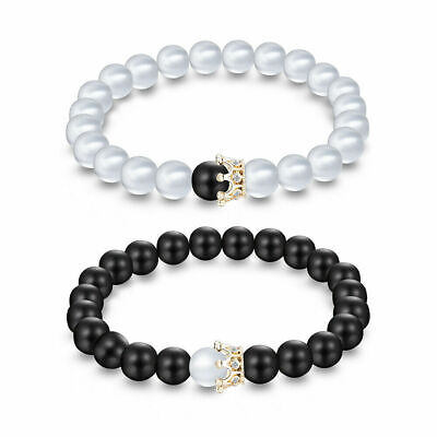 2pcs King and Queen Bracelet Beads Crown Couple His Hers Best Friends