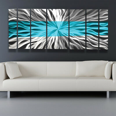 Metal Wall Art Blue Modern Abstract Sculpture Painting Home Decor by Brian Jones