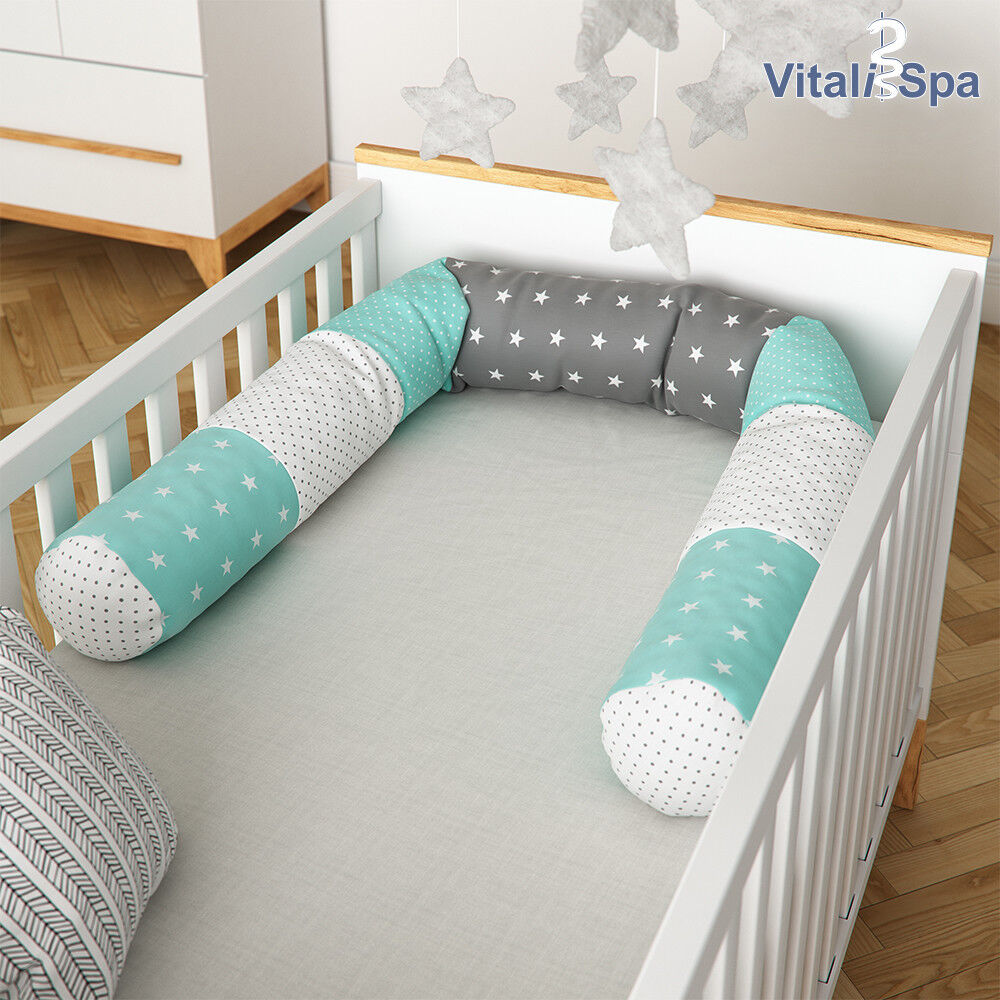 VitaliSpa Bettschlange Baby Nestchen blau - grau Nackenrolle Kissen 180 cm