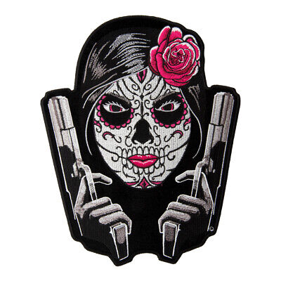 Day Of The Dead Girl Twin Guns Patch, Sugar Skull Patches (Sugarskull Girl)