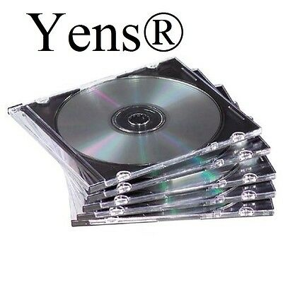 Yens 50 New Black Single Slim Cd Dvd Jewel Case 5.2mm 505bcd
